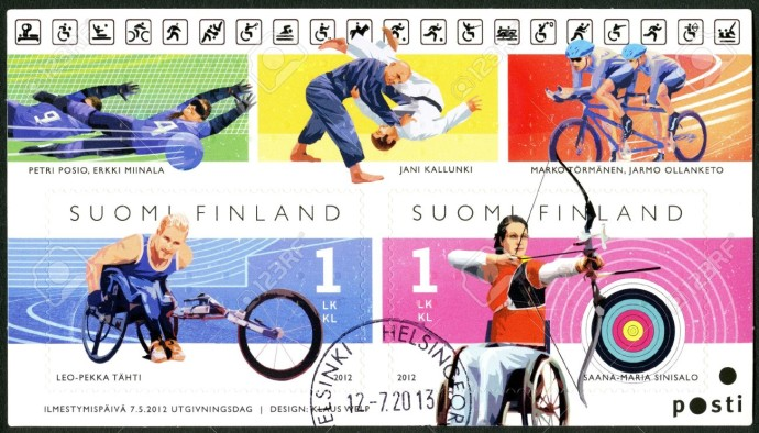 21631865-FINLAND-CIRCA-2012-A-stamp-printed-in-Finland-shows-Finnish-Champions-in-disabled-sports-wheelchair--Stock-Photo