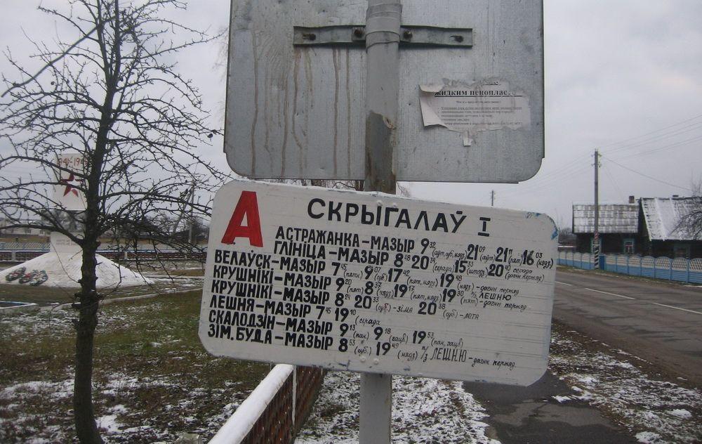 Расписание автобуса в Скрыгалове.