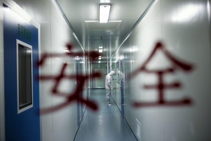 Сотрудник Международного центра регенеративной медицины в Шэньчжэне перед входом в стерильное помещение, где клетки роговицы свиного глаза модифицируют для последующей пересадки людям.