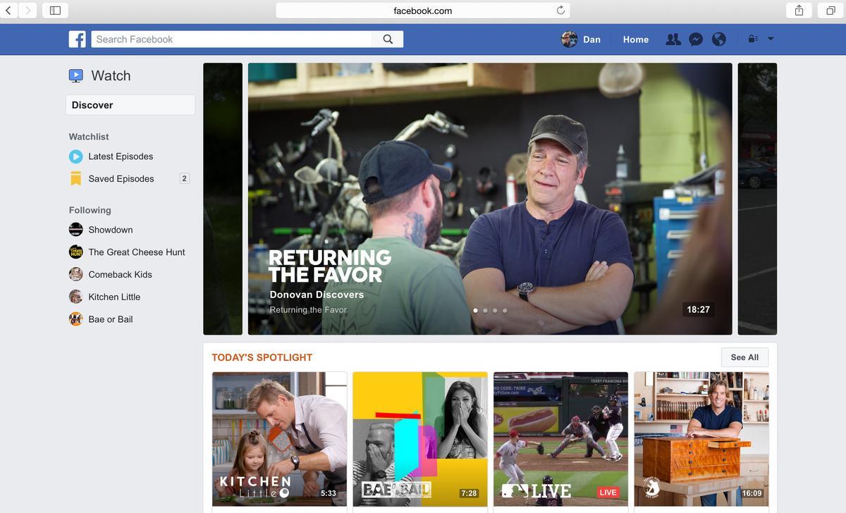 Facebook представила видеосервис Watch